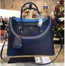 Prada Dark Blue Saffiano Cuir Double Bag with Blue Leather Lining