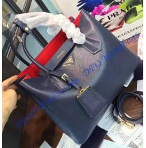 e3f67e7a3c Prada Dark Blue Saffiano Cuir Double Bag with Red Leather Lining