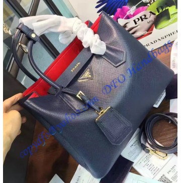 Prada Dark Blue Saffiano Cuir Double Bag with Red Leather Lining