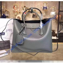 Prada Gray Saffiano Cuir Double Bag with Black Leather Lining