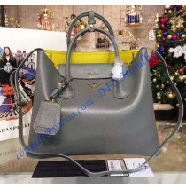 Prada Gray Saffiano Cuir Double Bag with Yellow Leather Lining