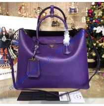 Prada Purple Saffiano Cuir Double Bag with Black Leather Lining