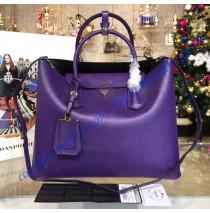 Prada Purple Saffiano Cuir Double Bag with Black Leather Lining
