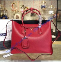 Prada Red Saffiano Cuir Double Bag