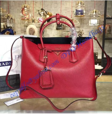 Prada Red Saffiano Cuir Double Bag