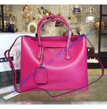 Prada Rose Saffiano Cuir Double Bag
