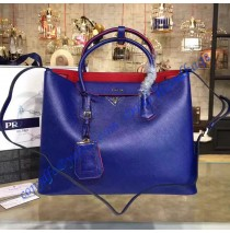 Prada Royal Blue Saffiano Cuir Double Bag