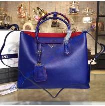 Prada Royal Blue Saffiano Cuir Double Bag