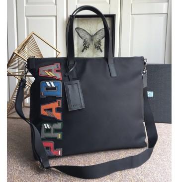 Prada Nylon Bag with Multicolor Logo Character
