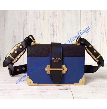 Prada Cahier Bag Blue and Black