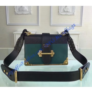 Prada Cahier Bag Green and Black