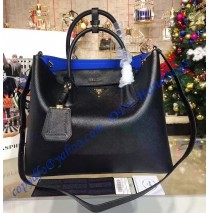 Black Saffiano Cuir Double Bag with Blue Leather Lining