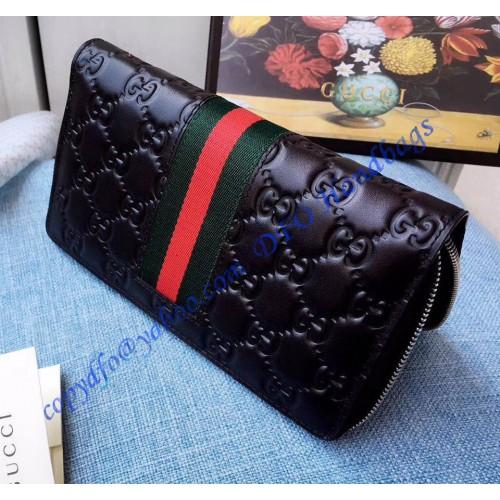 ea7a8a2917c8 Gucci Black Signature Web zip around wallet