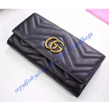 Gucci GG Marmont continental wallet in Black leather with a chevron design