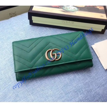 Gucci GG Marmont continental wallet in Green leather with a chevron design