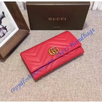 Gucci GG Marmont continental wallet in Red leather with a chevron design