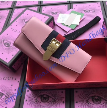 Gucci Sylvie leather continental wallet Pink