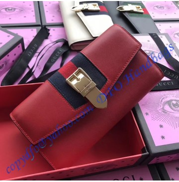Gucci Sylvie leather continental wallet Red