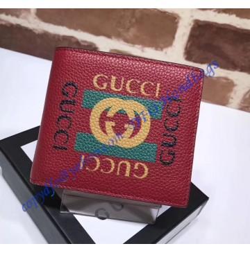 Gucci Print Red leather bi-fold wallet