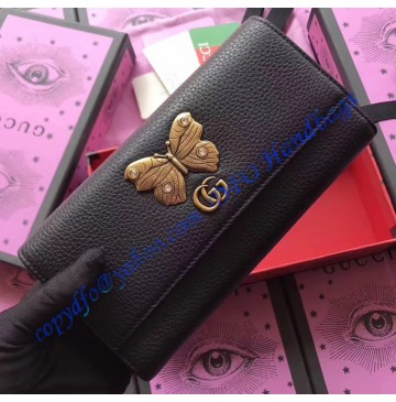 Gucci Black Leather continental wallet with butterfly