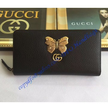 Gucci Black Leather zip around wallet with butterfly