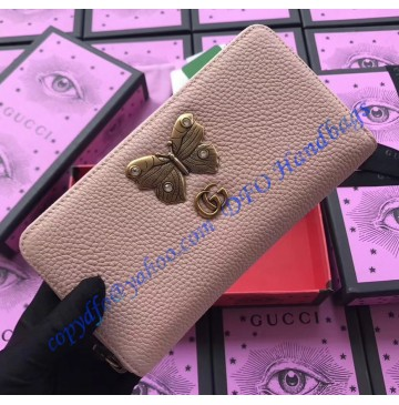 Gucci Pink Leather zip around wallet with butterfly