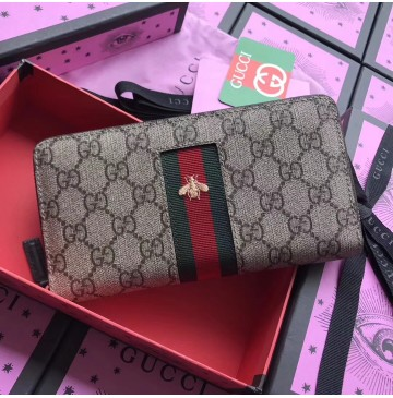 Gucci Web GG Supreme zip around wallet
