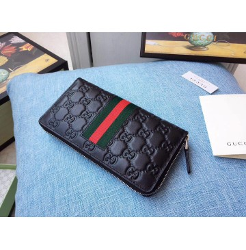 Gucci Black Signature Web zip around wallet
