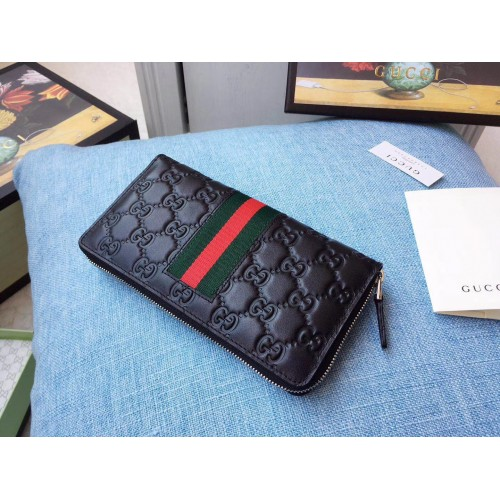 2b782dc73894 Gucci Black Signature Web zip around wallet. Loading zoom