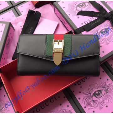 Gucci Sylvie leather continental wallet Black
