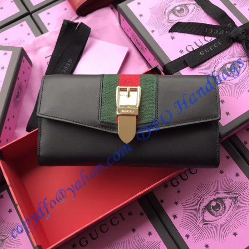 7a700b9a5ec Gucci Sylvie leather continental wallet Black. Loading zoom
