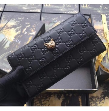 Gucci Signature Continental Wallet with Cat Black
