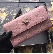 Signature Continental Wallet with Cat Pink