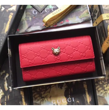 Gucci Signature Continental Wallet with Cat Red