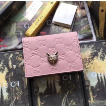 Gucci Signature Card Case with Cat Pink
