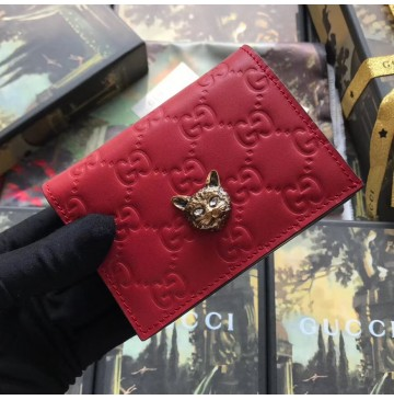 Gucci Signature Card Case with Cat Red