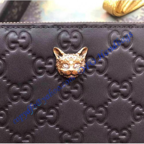 a86d2992717 Gucci Signature Zip Around Wallet with Cat Black