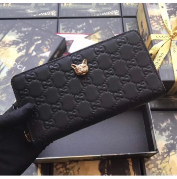 Gucci Signature Zip Around Wallet with Cat Black