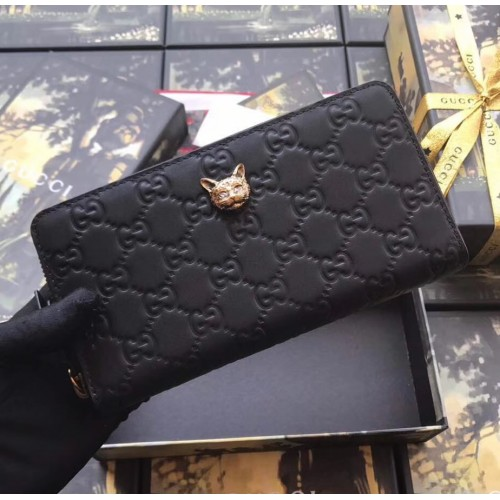 b91a18f3d112ad Gucci Signature Zip Around Wallet with Cat Black. Loading zoom