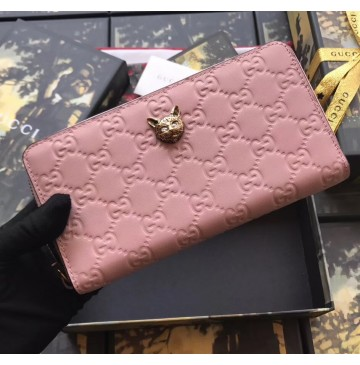 Gucci Signature Zip Around Wallet with Cat Pink