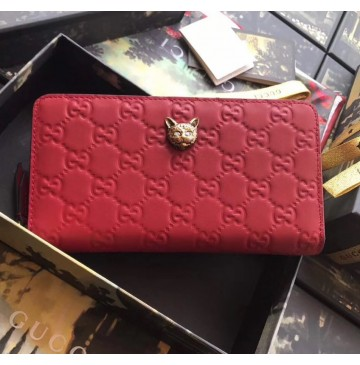 Gucci Signature Zip Around Wallet with Cat Red