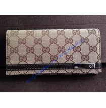 Gucci Long Wallet with metal bar GU-W233112C brown