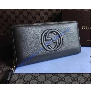 Gucci Soho Soft Patent Leather Zip Around Wallet Black