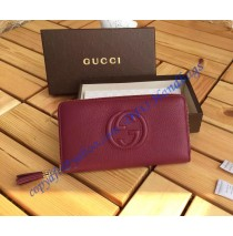 Gucci Soho Soft Patent Leather Zip Around Wallet Dark Red
