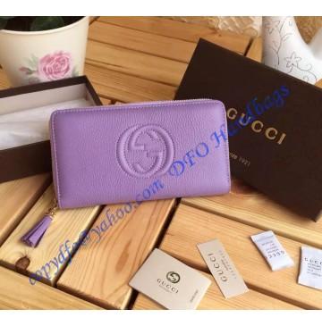 Gucci Soho Soft Patent Leather Zip Around Wallet Light Purple
