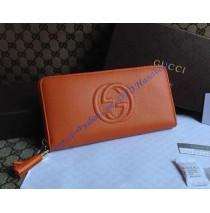 Gucci Soho Soft Patent Leather Zip Around Wallet Orange