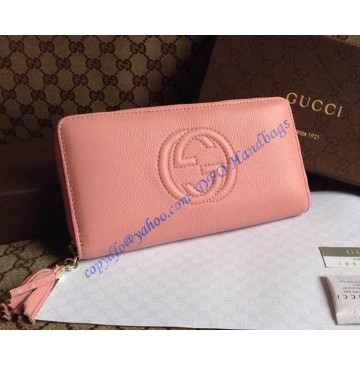 Gucci Soho Soft Patent Leather Zip Around Wallet Pink