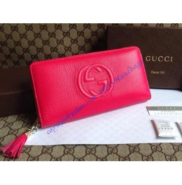 Gucci Soho Soft Patent Leather Zip Around Wallet Rose Red