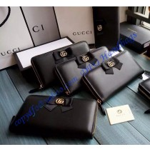Gucci Bow Signature Zip Around Wallet GU-W423171-black