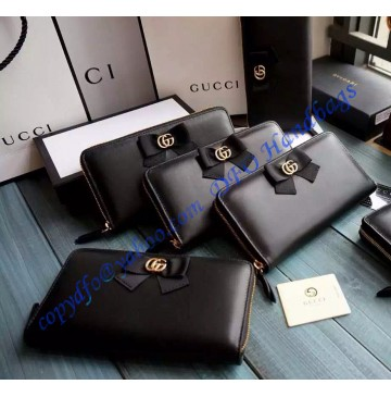 Gucci Bow Signature Zip Around Wallet GU-W423171-black